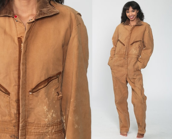 Walls Coveralls Insulated Jumpsuit 90s One Piece Pants Workwear Blizzard Pruf DISTRESSED Long Pants Work Wear Tan Vintage 1990s Small Medium