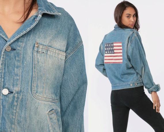 Ralph Lauren Jean Jacket AMERICAN FLAG Jacket 90s Denim Jacket Grunge Biker Faded Blue Stone Wash Oversize 1990s USA Vintage Large