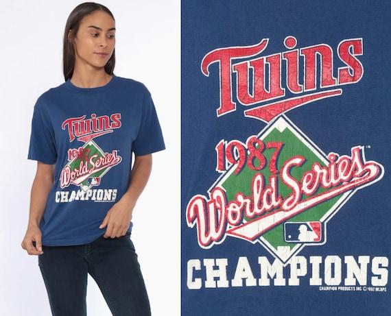80s Minnesota Twins Shirt --Baseball Tshirt Mlb Shirt 1987 WORLD SERIES CHAMPIONS T shirt 1980s Grunge Vintage Blue Athletic Medium