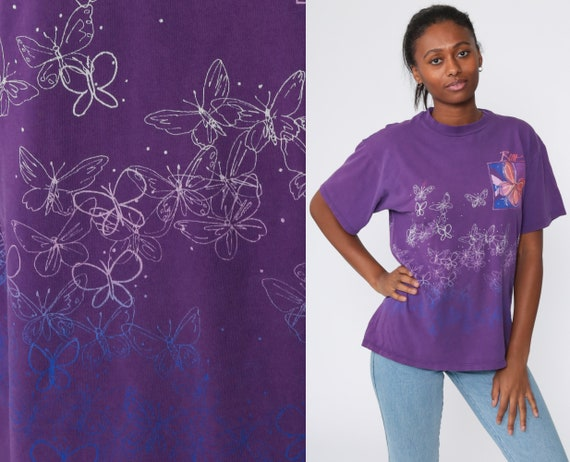 RENO Shirt Purple Butterfly Tee Shirt 90s Nevada T Shirt Graphic Print Retro 1990s Vintage Medium Large