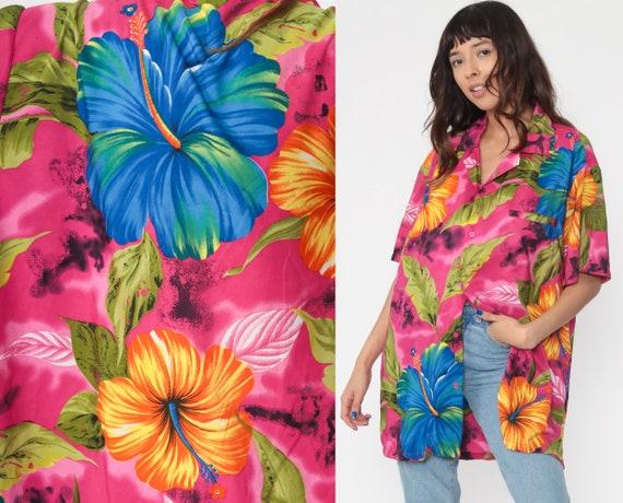Tropical Shirt Pink Hawaiian Shirt 80s Floral Blouse SURFER Button Up Shirt Vintage Blue Beach Sea Ocean Vacation Extra Large xl l