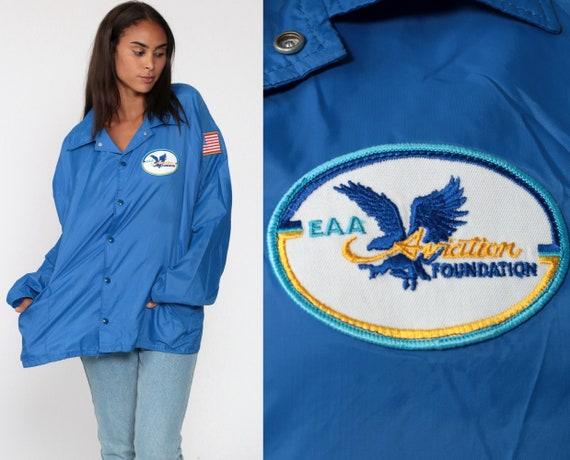 Baseball Jacket EAA AVIATION FOUNDATION 80s Nylon Jacket Blue Flight Windbreaker Plane Coach Jacket Cafe Racer Jacket Colla Extra Large xl