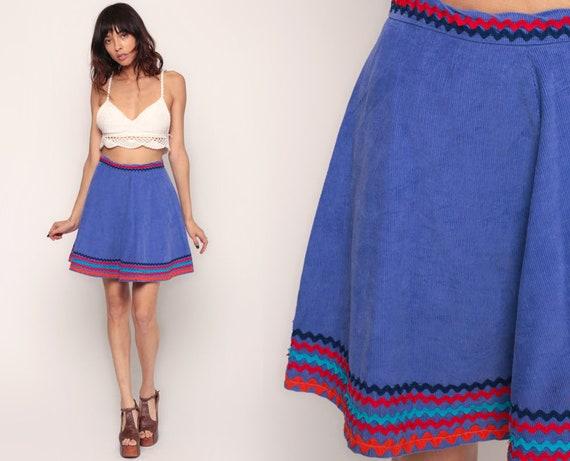 Corduroy Skirt Mini Skirt 70s Boho High Waisted Purple SKATER Rink A Line Skirt Full Skirt Flared 1970s Hippie Retro Vintage Bohemian Small