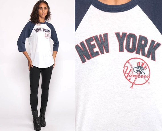 New York Yankees Shirt Mlb Tshirt 80s Tshirt Blue Shirt Raglan Baseball Athletic T Shirt NY Sportswear Paper Thin Burnout Vintage Large