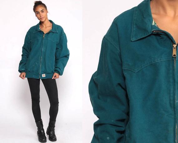 Carhartt Jacket Collared Jacket Teal Jacket TRIBAL PRINT Lining 1990s Work Wear 90s Sportswear Blue Zip Up Vintage Extra Large XL