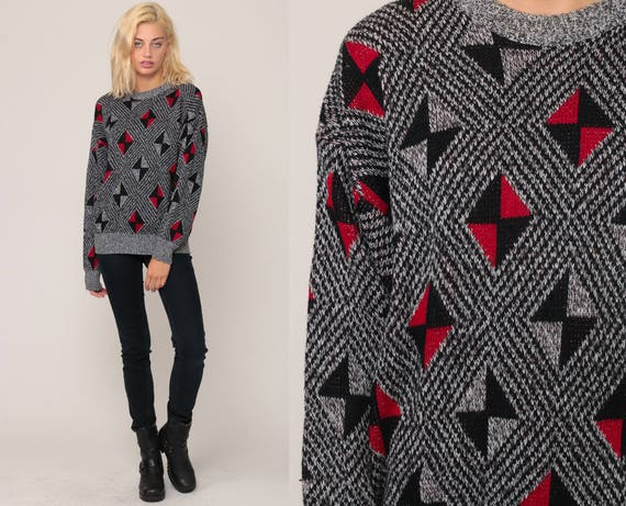87b83887b88a07 Knit Sweater 80s Slouchy retro GEOMETRIC Print Grey Red Black