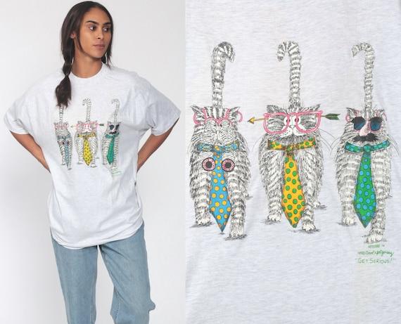 Funny Cat Shirt -- GET SERIOUS Shirt 90s Joke Carol Montgomery Shirt Graphic Tshirt Graphic T Shirt Screen Print Tee Extra Large xl l