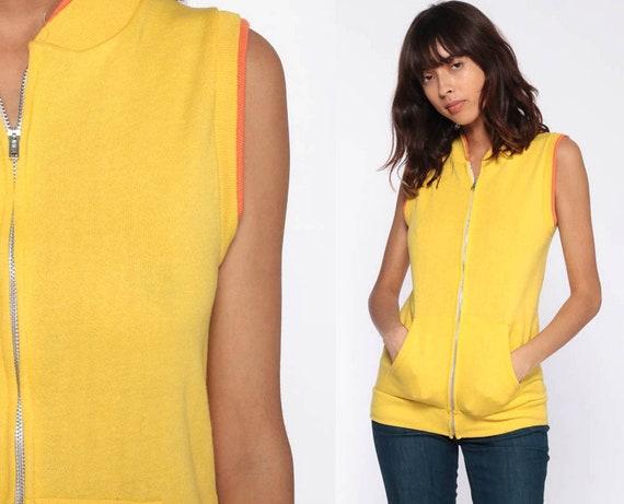 Yellow Sleeveless Sweatshirt 80s Shirt Sweatshirt Vest Top Zip Up Shirt Retro Vintage Vest Jacket 1980s Extra Small xs