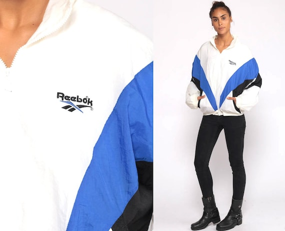 Reebok Windbreaker Jacket 90s Streetwear Jacket Shell Color Block Jacket White Sportswear Blue Hipster Black Vintage 80s Extra Large XL