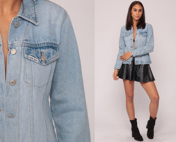 90s Denim Jacket Vintage Jean Grunge 80s Biker Stone Wash Faded Worn Button Up 1990s Hipster Classic Collared Tiny Fit Coat Extra Small XS