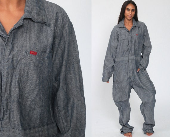 Work Coveralls 42 80s Jumpsuit Work Wear Romper Big Smith Coveralls Vintage Boilersuit Workwear Grey-Blue Striped Overalls Extra Large XL