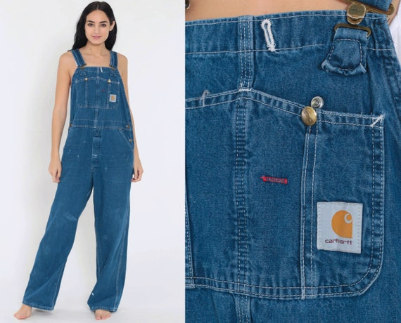 Carhartt Overalls 40 x 29 -- Dungarees Bib PAINT SPLATTER Jean Overalls Denim Pants Suspender Blue Baggy Long Vintage Coveralls Large xl