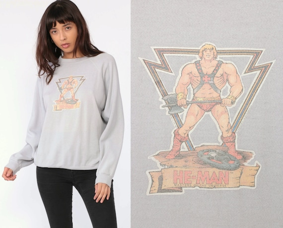 He-Man Sweatshirt 80s Cartoon Raglan Sleeve Sweatshirt Hanes Comic Superhero Heman Vintage Slouchy Kawaii Japan Graphic Medium