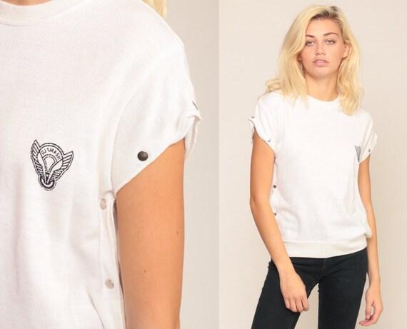 DJ Smash Shirt White Shirt Cap Sleeve Blouse 80s Top Cap Sleeve Slouchy Top Nautical Shirt BUTTON SIDE 1980s Retro Vintage Medium