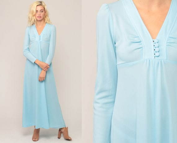 Baby Blue Dress 70s Maxi Dress Boho Pastel PUFF Sleeve 1970s Hippie Bohemian Long Empire Waist Grecian Festival Vintage Extra Small xs
