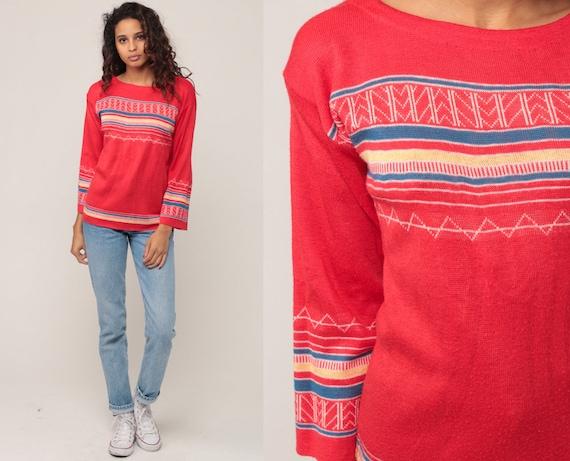 Boho Sweater Striped Sweater 70s Knit Jumper 1970s Red Pullover Bohemian Sweater Zig Zag Geometric Vintage Retro Small