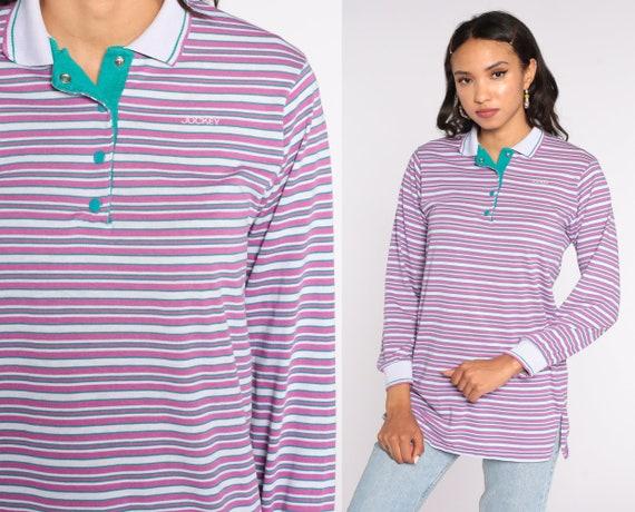 Purple Striped Shirt Jockey Polo Shirt 80s Shirt Long Sleeve Shirt Half Button Up 1980s Retro Vintage Medium