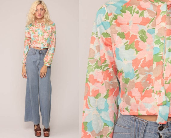 Floral Blouse Retro Shirt 70s Crop Top Boho Shirt ASCOT Top Long Sleeve Shirt Necktie Blouse Bohemian Hipster Cropped Pink Blue Small Medium