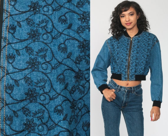 Embroidered Denim Jacket 90s Jean Jacket Floral  Jacket Zip Up Blue Bomber Jacket Cropped Jacket 1980s Vintage Small s