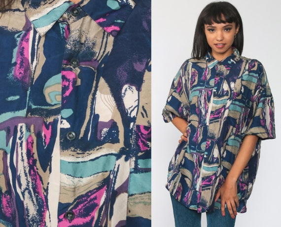 Silk Abstract Shirt -- 90s Button Up Blouse 1990s Brushstroke Print Short Sleeve Vintage Purple Blue Men's Large