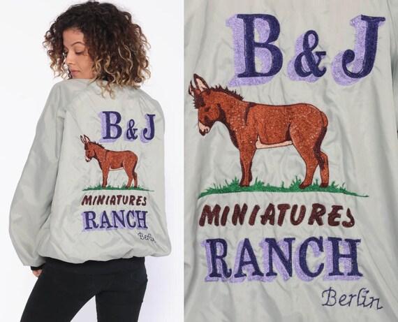 80s Horse Ranch Jacket -- Bob Uniform Bomber Jacket MINIATURE HORSE Grey Baseball Jacket Raglan Coach Windbreaker Snap Up Extra Large xl l