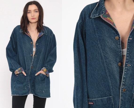 80s Denim Jacket --   90s Oversize Long Boho Coat Southwest Aztec Lining Trucker Bohemian 90s Vintage Hipster Retro Large