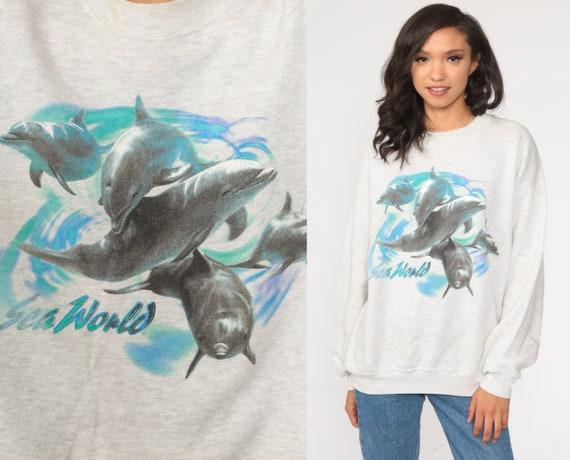 Dolphin Sweatshirt 90s Sea World Shirt Animal Print Jumper Under The Sea Sweatshirt Graphic Sweater Vintage Kawaii Medium Large