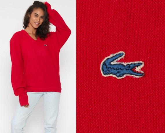 Izod LACOSTE Sweater 80s V Neck Slouchy Pullover Red Jumper Knit Vintage 1980s Preppy Crocodile Oversized Retro Medium Large