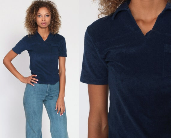 Navy Terry Cloth Shirt 70s Terrycloth Top Blue V Neck Collared Retro Tee Top Vintage Pocket Shirt Polo 1970s Extra Small xs