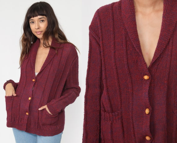 Burgundy Cardigan 70s Sweater Space Dye Button Up Acrylic Knit Slouchy Boho Hippie Ribbed Vintage 1970s Retro Medium Large