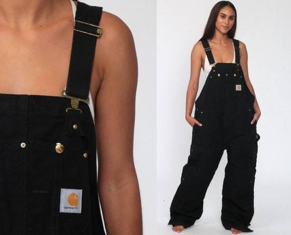 90s Carhartt Overalls XL Black Work Coveralls Insulated Baggy Pants Utility Dungarees Coveralls Workwear Long Wide Leg Vintage Extra Large