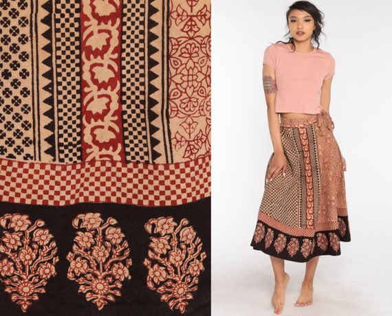 Indian Wrap Skirt Batik Skirt Hippie 90s Boho Midi 1990s Ethnic Cotton Floral Bohemian High Waisted Festival Extra Small xs s