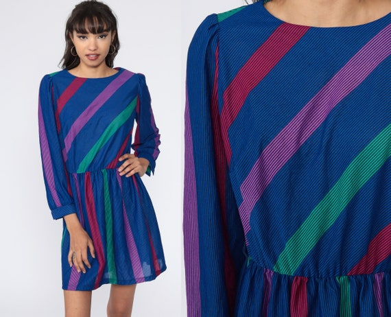Striped Puff Sleeve Dress 80s Mini Dress Blue Bohemian High Waisted Boho Secretary Vintage 1980s Minidress Medium