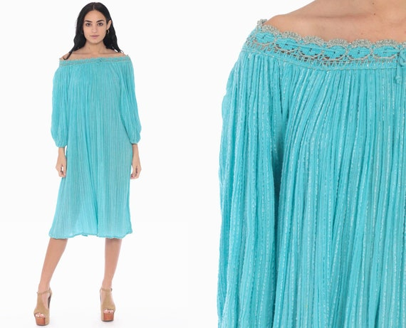 Bohemian Dress 70s Sheer Cotton Gauze Trapeze Tent Metallic Grecian Festival Hippie Boho Midi Indian Turquoise Vintage Small Medium Large