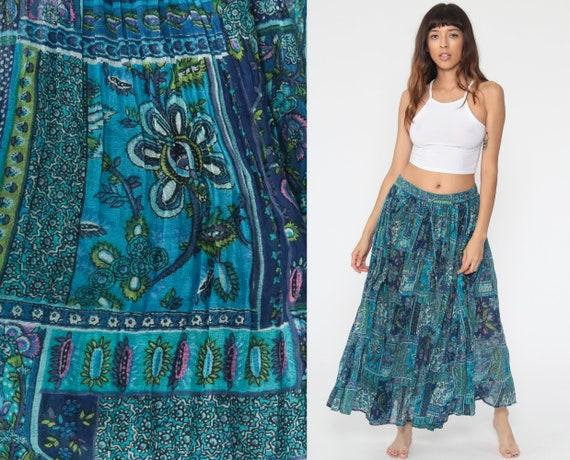 Floral Skirt Boho Hippie Blue Psychedelic Skirt 90s Maxi Bohemian Skirt Vintage Broomstick Skirt Gypsy Festival Skirt  Small Medium Large