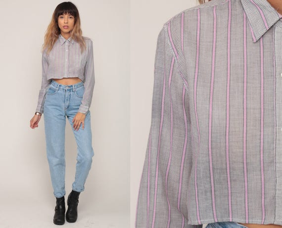 Striped Crop Top Striped Shirt DVF Shirt Diane Von Furstenberg Button Up Blouse Long Sleeve 80s Cropped Shirt Vintage Pink Grey Small Medium