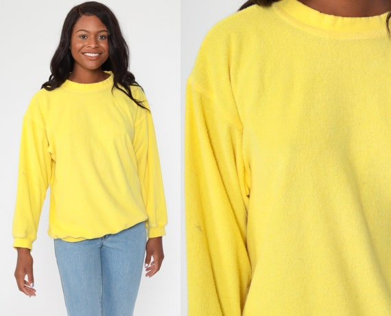 Terry Cloth Sweatshirt 80s Sweatshirt Bright Yellow Shirt Slouchy terrycloth 1980s Shirt Vintage Retro Medium Large