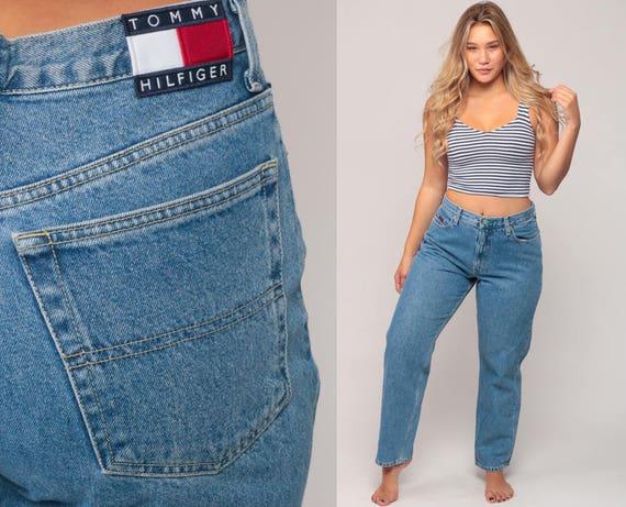 Tommy Jeans Mom Jeans TOMMY HILFIGER Denim Pants 90s Boyfriend High Waist Jeans Blue Relaxed Vintage Hipster Large 12 14 34