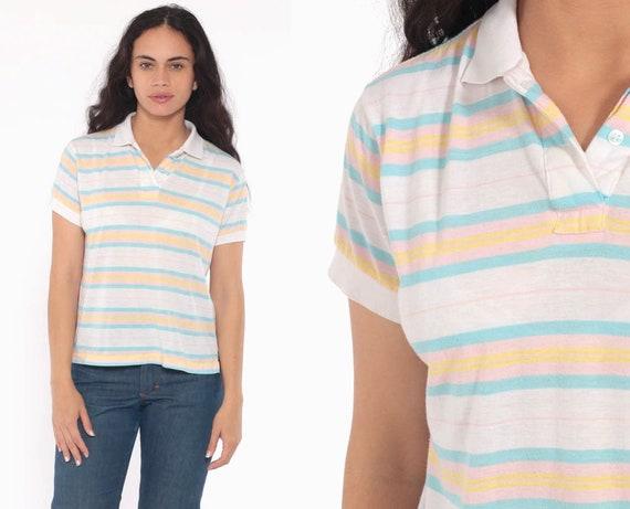 Pastel Striped Shirt Polo 80s Paper Thin BURNOUT Half Button Up Sheer Shirt Kawaii Baby Pink Blue 1980s Collar Vintage Small Medium