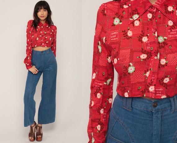 Floral Blouse 70s Boho Shirt Crop Top Bohemian Shirt 1970s Vintage Boho Hippie Red Button Up Long Sleeve Small Medium