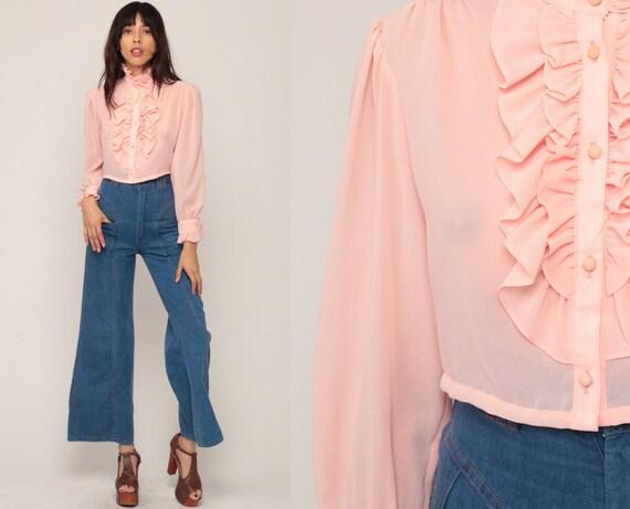 Baby Pink Shirt Tuxedo Blouse CROP TOP 70s Shirt RUFFLE Shirt Sheer Boho Hippie 1970s Bohemian Vintage Long Sleeve Small