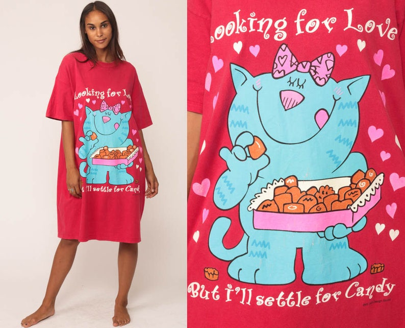 409dce9285 Pajama Dress Cat Night Shirt LOOKING For LOVE Settle for CANDY