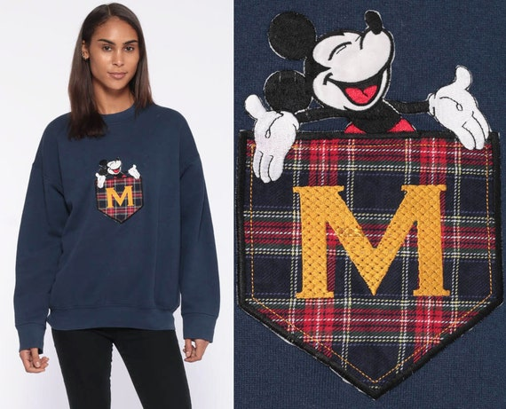 Mickey Mouse Sweatshirt -- 90s Walt Disney Sweater Plaid Navy Blue Graphic Shirt Vintage Kawaii 1990s Crewneck Medium Large