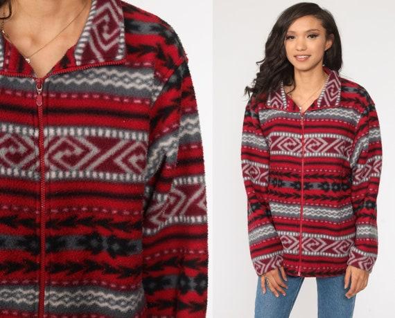 Southwestern Fleece Jacket 90s Sweatshirt Red Sweater Aztec Jacket Zip Up Bohemian 1990s Southwest Boho Vintage Large xl l