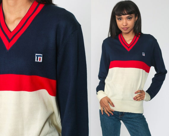 70s Sweater Striped Navy Blue V Neck Sweater Color Block Knit Retro Sweater Ringer 1970s Tennis Sweater Pullover Vintage Preppy Small Medium