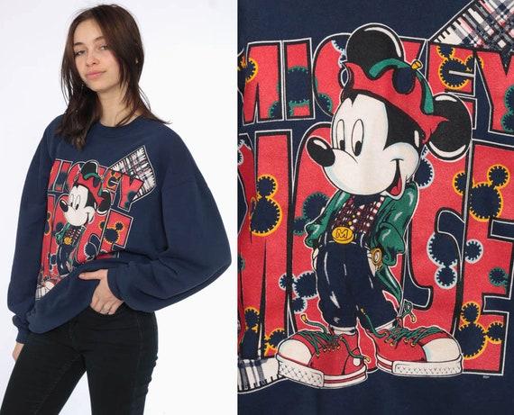 90s Mickey Mouse Sweatshirt -- 1990s PLAID Disney Sweater 80s Graphic Grunge Hip Mickey Shirt Cartoon 90s Vintage Kawaii Retro Medium Large