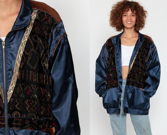 Velvet Windbreaker Jacket 90s Windbreaker Jacket Gold Metallic Dark Blue Satin Jacket Zip Up Geometric Vintage 1990s Large xl