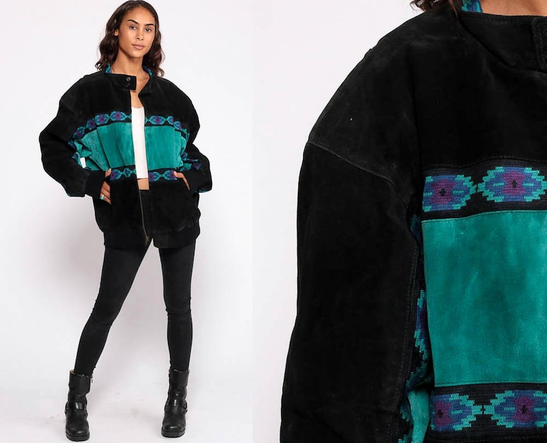 14dad3fbff079 Suede Leather Jacket Turquoise Southwestern Aztec Print Bomber