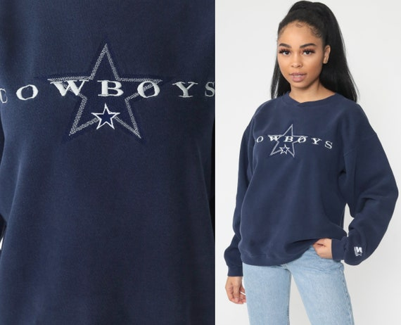 Dallas Cowboys Shirt Starter Football Sweatshirt 90s Nfc Navy Blue Jumper 1990s Sports Top Vintage Medium Large