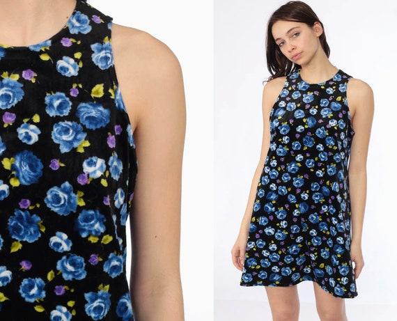 90s Velour Floral Dress -- 1990s Mini Tank Dress Blue Skater Floral Black Grunge Sundress Summer Dress Sleeveless Medium Large